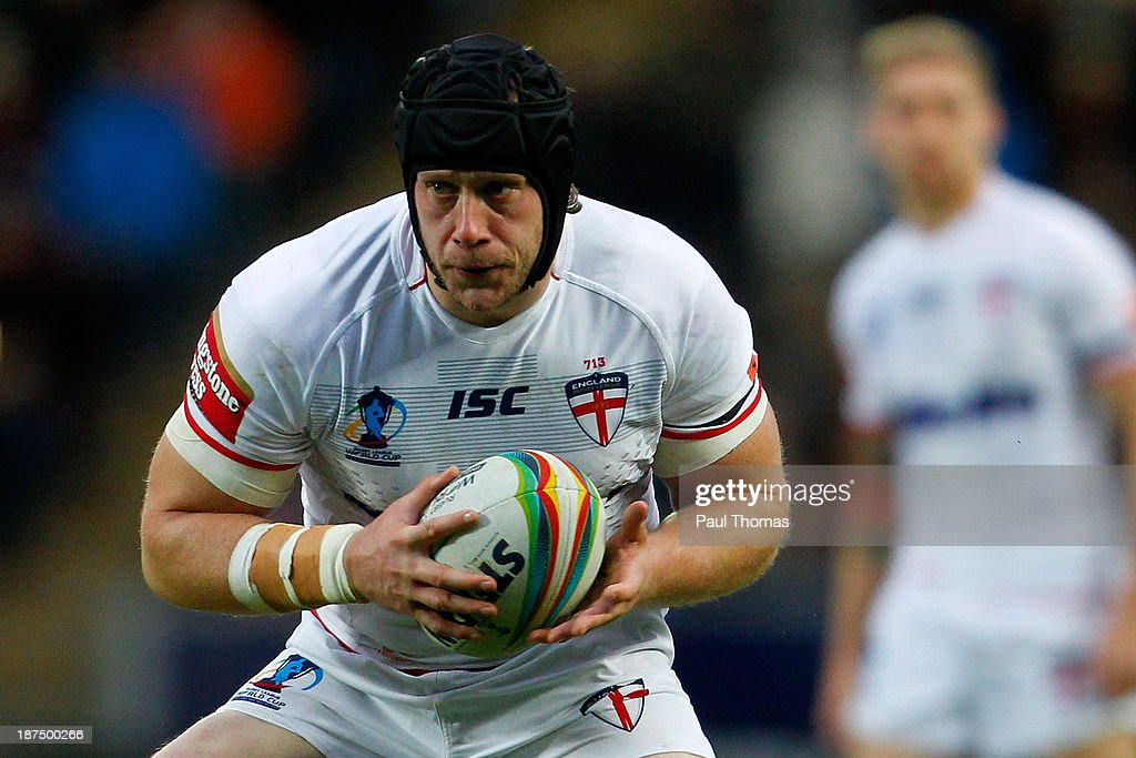 Christopher Hill of England in action during the Rugby League World Cup Group A match at the KC Stadium on November 9, 2013 in Hull, England.