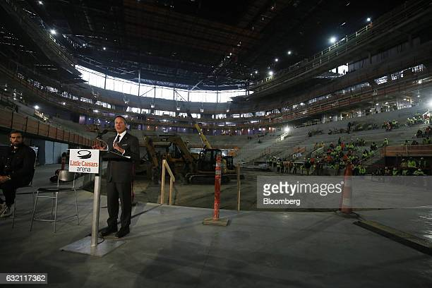 Christopher Ilitch president and chief executive officer for Ilitch Holdings Inc speaks during a press conference at the Little Caesars Arena in...