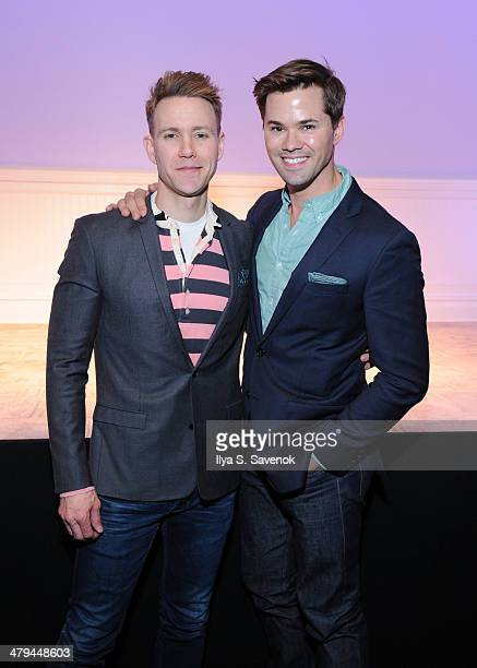Christopher J Hanke and Andrew Rannells attend 'Buyer Cellar' celebrates 301th performance at the Barrow Street Theater on March 18 2014 in New York...