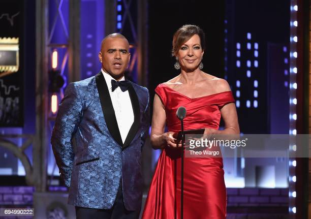Christopher Jackson and Allison Janney speak onstage during the 2017 Tony Awards at Radio City Music Hall on June 11 2017 in New York City