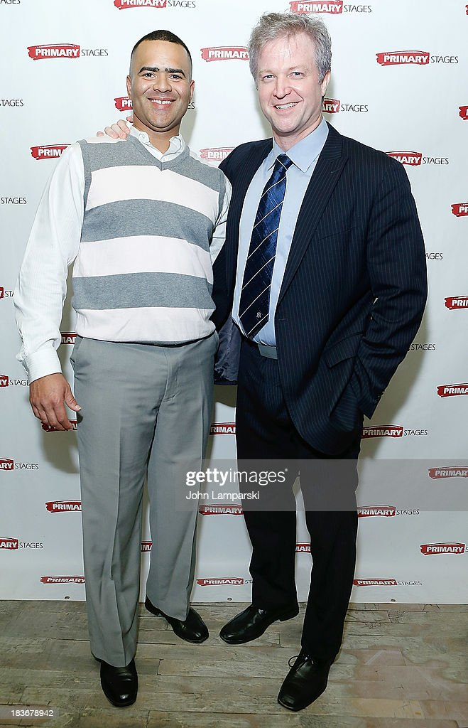 Christopher Jackson and CJ Wilson attend 'Bronx Bombers' Opening Night - After Party at West Bank Cafe on October 8, 2013 in New York City.