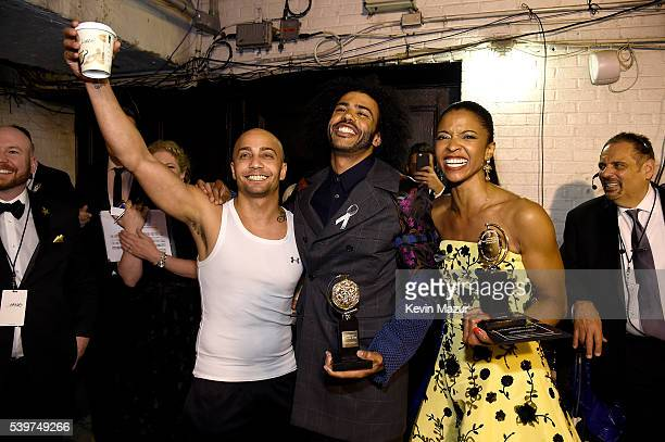 Christopher Jackson Daveed Diggs and Renee Elise Goldsberry attend the 70th Annual Tony Awards at The Beacon Theatre on June 12 2016 in New York City