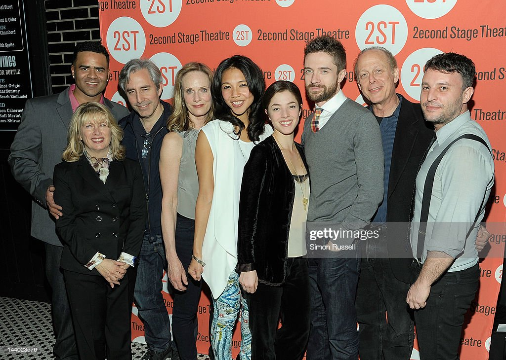 Christopher Jackson, Peter Weitz, Lisa Emery, Maureen Sebastian, <a gi-track='captionPersonalityLinkClicked' href=/galleries/search?phrase=Olivia+Thirlby&family=editorial&specificpeople=669904 ng-click='$event.stopPropagation()'>Olivia Thirlby</a>, <a gi-track='captionPersonalityLinkClicked' href=/galleries/search?phrase=Topher+Grace&family=editorial&specificpeople=203130 ng-click='$event.stopPropagation()'>Topher Grace</a> and Mark Blum and Trip Cullman attend 'Lonely I'm Not' Off Broadway Opening Night at HB Burger on May 7, 2012 in New York City.