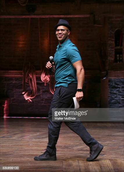 Christopher Jackson speaks to thirteen hundred students from New York City public schools gathered for a 'Hamilton' matinee performance on Broadway...