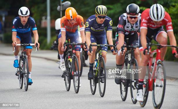 Christopher Juul Jensen of Orica Scott in action during the Elite Mens Road Race in the Danish Road Cycling Championships on June 25 2017 in...