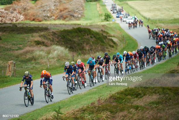Christopher Juul Jensen of Orica Scott leading the peloton during the Elite Mens Road Race in the Danish Road Cycling Championships on June 25 2017...