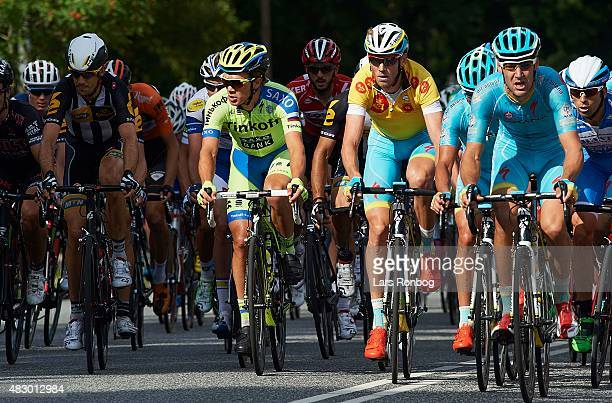 Christopher Juul Jensen of Tinkoff Saxo and Lars Boom of Team Astana in the leaders yellow jersey in action during stage 2 of the 2015 Tour of...