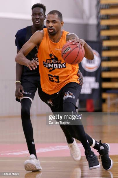 Christopher Kaba dribbles the ball during the NBL Combine 2017/18 at Melbourne Sports and Aquatic Centre on April 17 2017 in Melbourne Australia
