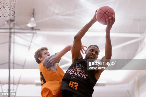 Christopher Kaba pulls down a rebound during the NBL Combine 2017/18 at Melbourne Sports and Aquatic Centre on April 17 2017 in Melbourne Australia