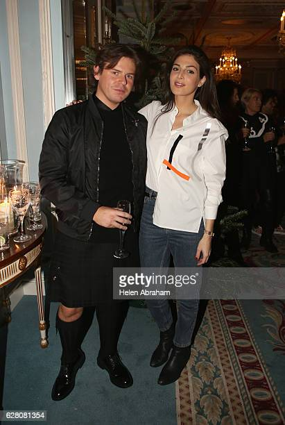 Christopher Kane and Razane Jammal attend the mytheresacom X Christopher Kane Christmas cocktail at The Lanesborough Hotel on December 6 2016 in...