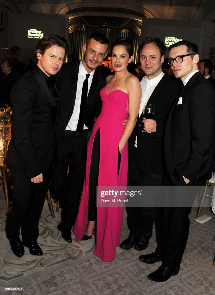 Christopher Kane, Jonathan Saunders, <a gi-track='captionPersonalityLinkClicked' href=/galleries/search?phrase=Ruth+Wilson+-+Actress&family=editorial&specificpeople=3111655 ng-click='$event.stopPropagation()'>Ruth Wilson</a>, Nicholas Kirkwood and Erdem Moralioglu attend an after party following the 58th London Evening Standard Theatre Awards in association with Burberry at The Savoy Hotel on November 25, 2012 in London, England.