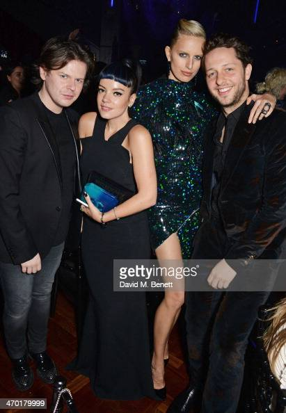 Christopher Kane Lily Allen Karolina Kurkova and Derek Blasberg attend the Elle Style Awards 2014 after party at One Embankment on February 18 2014...
