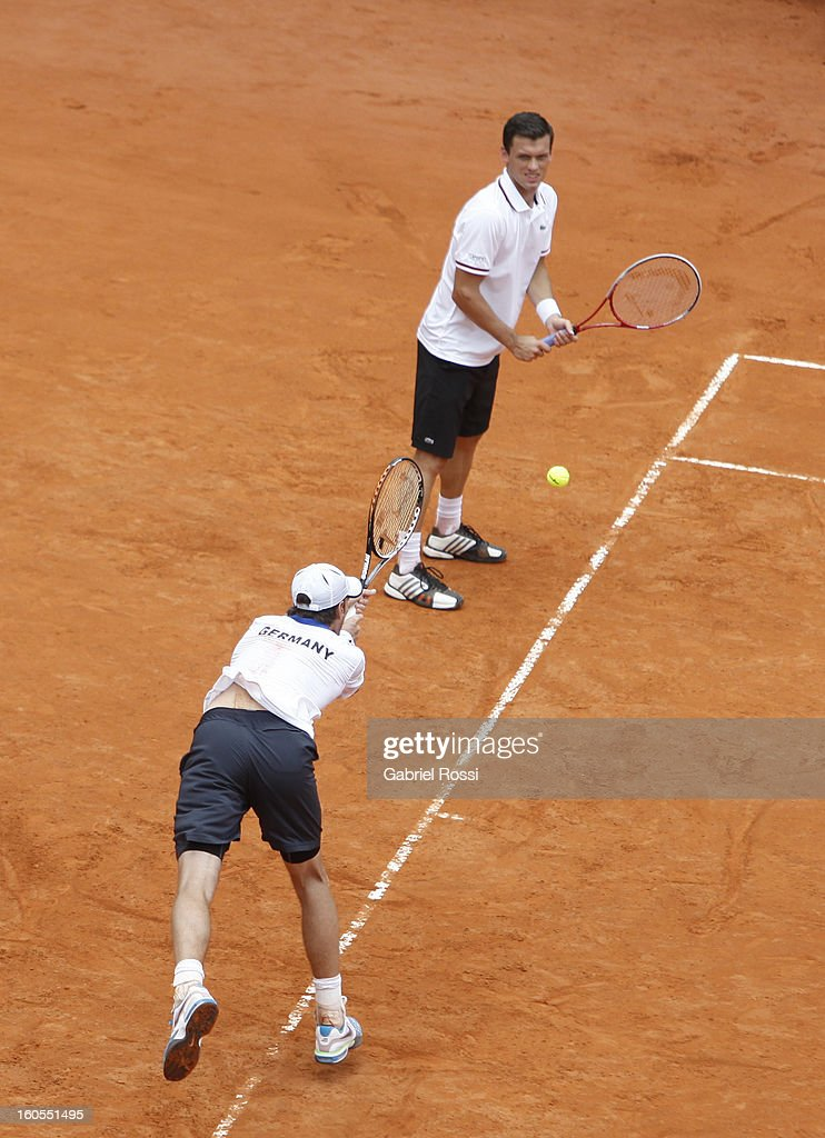 Christopher Kas and Tobias Kamke of Germany in action during the match against David Nalbandian and Horacio Zeballos of Argentina on the second day...