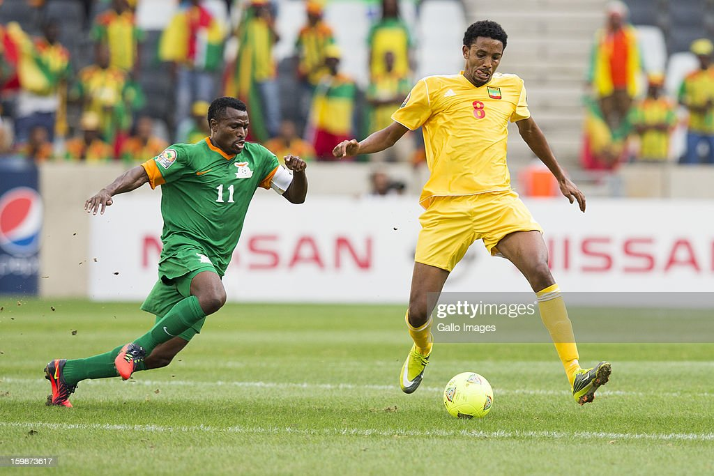 Christopher Katongo & Gobena Asrat Megersa during the 2013 Orange African Cup of Nations match between Zambia and Ethiopia from Mbombela Stadium on January 21, 2012 in Nelspruit, South Africa