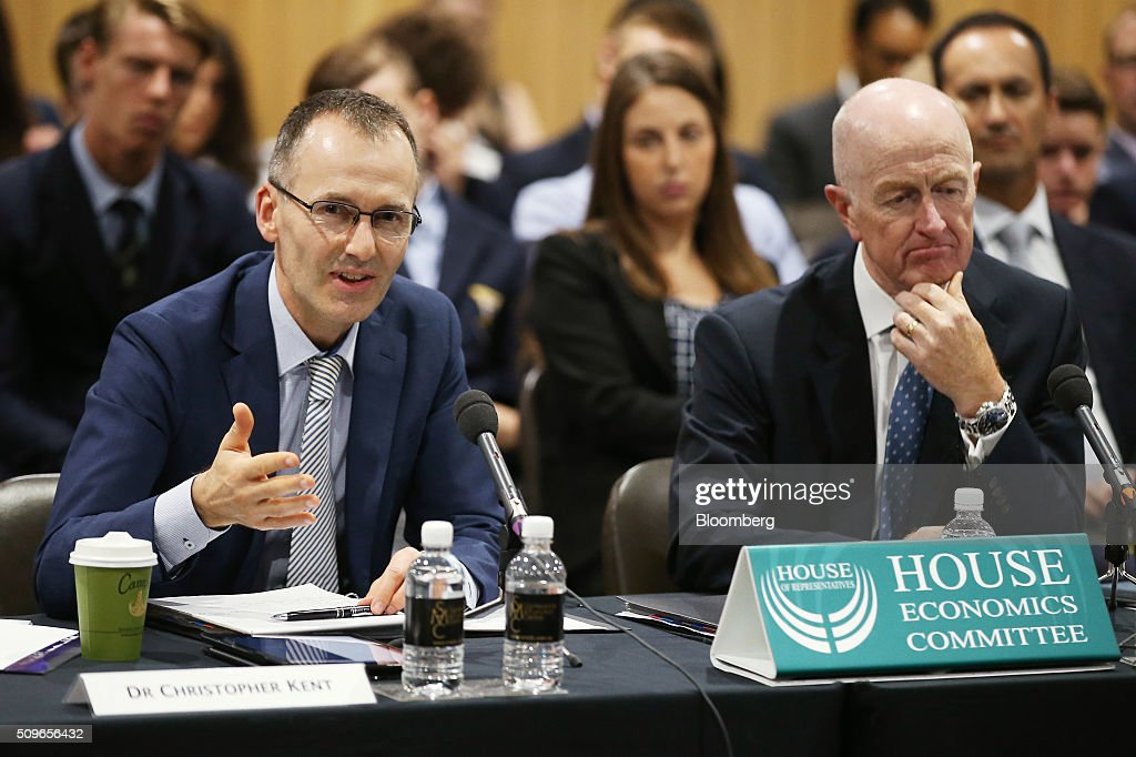 Christopher Kent, assistant governor of the Reserve Bank of Australia, left, speaks as <a gi-track='captionPersonalityLinkClicked' href=/galleries/search?phrase=Glenn+Stevens&family=editorial&specificpeople=2288724 ng-click='$event.stopPropagation()'>Glenn Stevens</a>, governor, listens during a hearing before the House of Representatives economics committee in Sydney, Australia on Friday, Feb. 12, 2016. Australia has the flexibility to ease monetary policy further if that will aid the economy, central bank Governor <a gi-track='captionPersonalityLinkClicked' href=/galleries/search?phrase=Glenn+Stevens&family=editorial&specificpeople=2288724 ng-click='$event.stopPropagation()'>Glenn Stevens</a> said Friday as he gauges the sustainability of recent jobs strength against the potential impact of global market upheaval on demand. Photographer: Brendon Thorne/Bloomberg via Getty Images