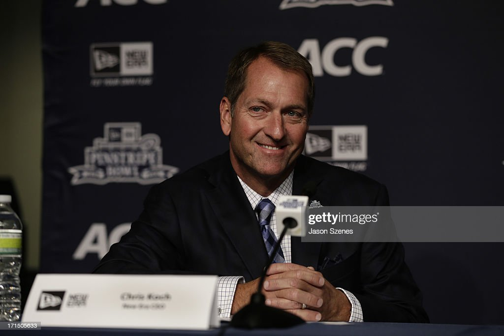 Christopher Koch, CEO at New Era Cap is seen during a press conference to announce the New Era Pinstripe Bowl's multi-year partnership with the Atlantic Coast Conference at Yankee Stadium on June 25, 2013 in the Bronx borough of New York City.