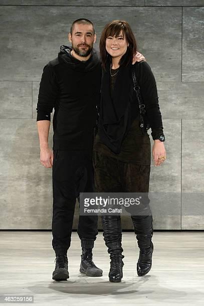 Christopher Kunz and Nicholas Kunz walk the runway at the Nicholas K fashion show during MercedesBenz Fashion Week Fall 2015 at The Pavilion at...