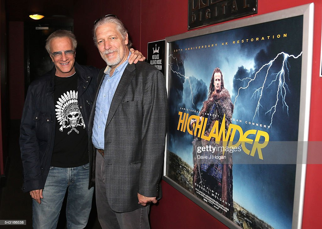 <a gi-track='captionPersonalityLinkClicked' href=/galleries/search?phrase=Christopher+Lambert&family=editorial&specificpeople=240500 ng-click='$event.stopPropagation()'>Christopher Lambert</a> (L) and Clancy Brown attend a special screening of the recently restored 'Highlander' film at Prince Charles Cinema on June 26, 2016 in London, England.