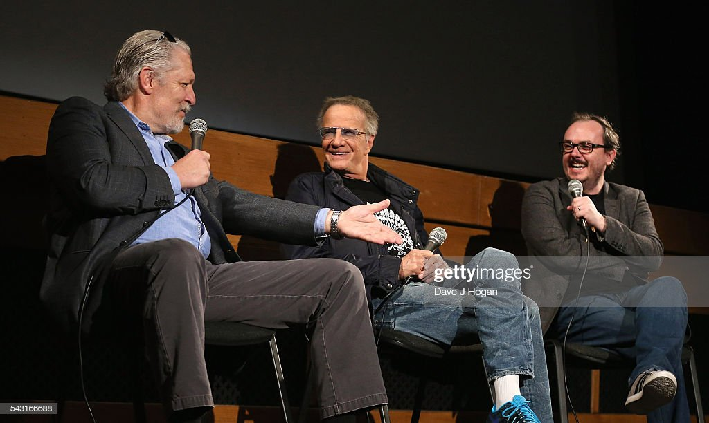 Christopher Lambert (R) and Clancy Brown attend a special screening of the recently restored 'Highlander' film at Prince Charles Cinema on June 26, 2016 in London, England.