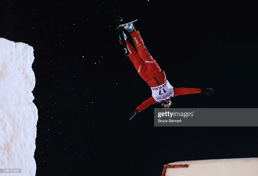 Christopher Lambert #17 of Switzerland jumps in the qualification round at the USANA Freestyle World Cup aerial competition at the Lake Placid Olympic Jumping Complex on January 19, 2013 in Lake Placid, New York.