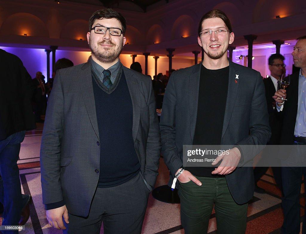 Christopher Lauer and Martin Delius attend the '8. Nacht der Sueddeutschen Zeitung' at Deutsche Telekom representative office on January 14, 2013 in Berlin, Germany.