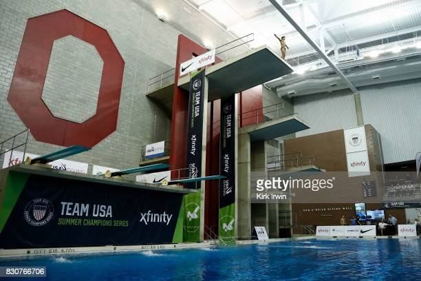 Christopher Law prepares to take a dive during the Senior Men's Platform Final during the 2017 USA Diving Summer National Championships on August 12...