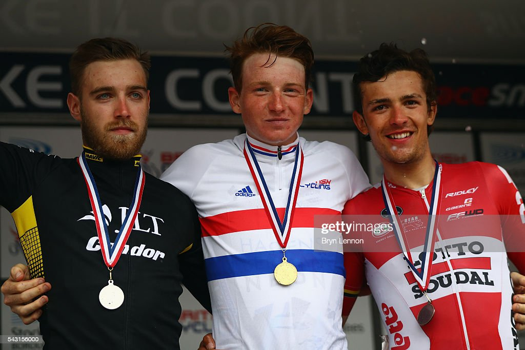 Christopher Lawless (2) of JLT Condor, Tao Geoghegan Hart (1st) of Axeon Hagens Berman CT and James Shaw (3rd) of Lotto Soudal U23 stand on podoium for the U23 Men's 2016 National Road Championships on June 26, 2016 in Stockton-on-Tees, England.