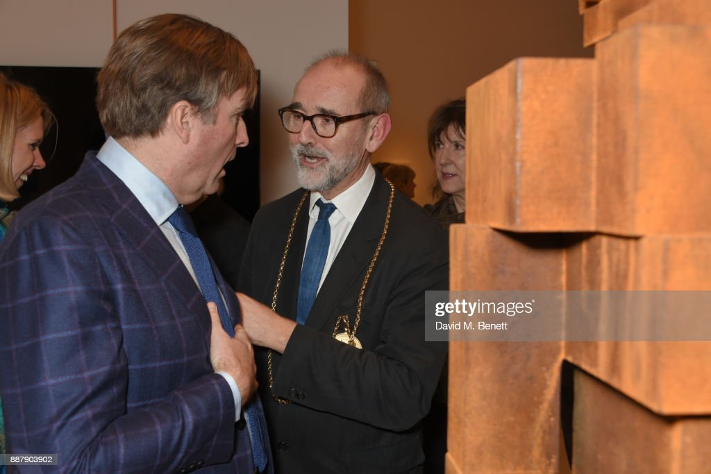 Christopher Le Brun (C) attends a private view of new exhibition 'From Life' at The Royal Academy of Arts on December 7, 2017 in London, England.