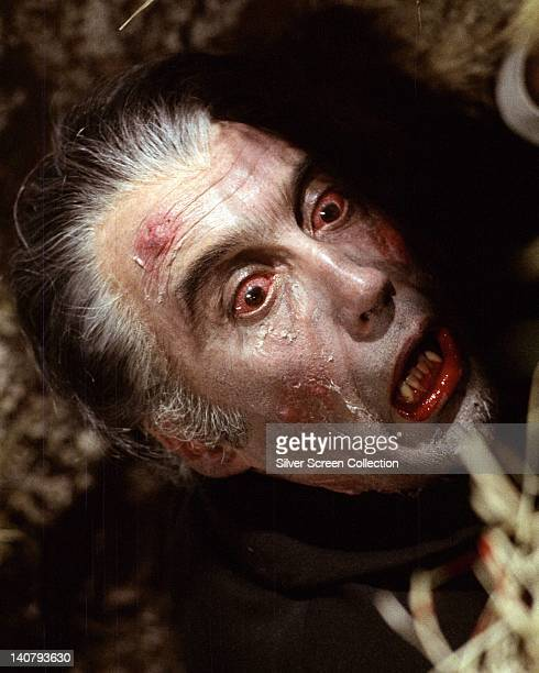 Christopher Lee British actor with bloodshot eyes in a publicity still issued for the film 'Dracula AD 1972' 1972 The Hammer horror film directed by...
