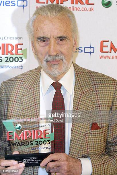 Christopher Lee during 2003 Empire Awards at Dorchester Hotel in London Great Britain