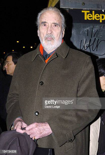 Christopher Lee during Mont Blanc 'Right to Write' Exhibition Arrivals at Mont Blanc Sloane Street in London Great Britain