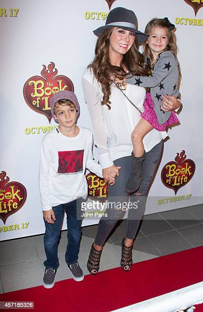 Christopher Levy Elizabeth Gutierrez and Kailey Levy attends The Book Of Life red carpet screening at Regal South Beach on October 13 2014 in Miami...