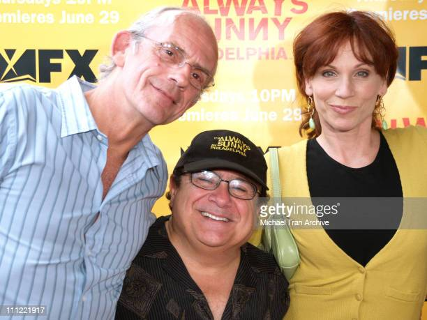 Christopher Lloyd Danny DeVito and Marilu Henner during 'It's Always Sunny in Philadelphia' Season Two Premiere Arrivals at Harmony Gold Theater in...