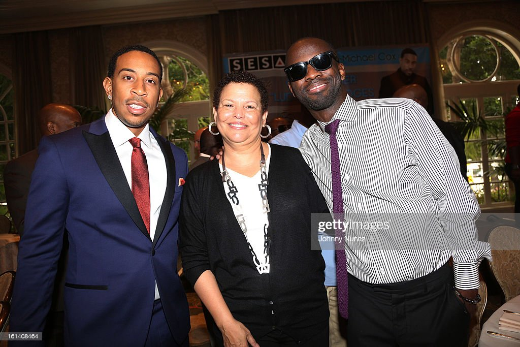 Christopher 'Ludacris' Bridges, Debra Lee and <a gi-track='captionPersonalityLinkClicked' href=/galleries/search?phrase=Bryan-Michael+Cox&family=editorial&specificpeople=4147651 ng-click='$event.stopPropagation()'>Bryan-Michael Cox</a> attend The 9th Annual <a gi-track='captionPersonalityLinkClicked' href=/galleries/search?phrase=Bryan-Michael+Cox&family=editorial&specificpeople=4147651 ng-click='$event.stopPropagation()'>Bryan-Michael Cox</a>/SESAC Brunch Honoring Ludacris at Four Seasons Hotel Los Angeles at Beverly Hills on February 10, 2013 in Beverly Hills, California.