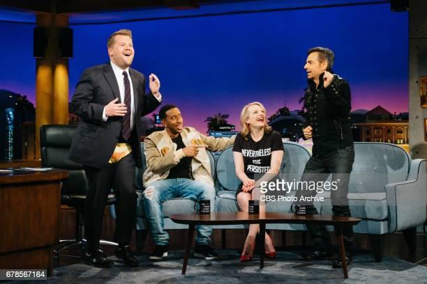 Christopher 'Ludacris' Bridges Elizabeth Moss and Eugenio Derbez chat with James Corden during 'The Late Late Show with James Corden' Wednesday April...