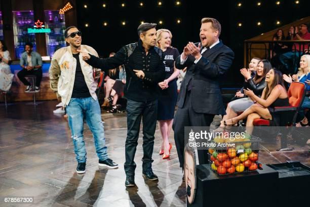 Christopher 'Ludacris' Bridges Eugenio Derbez and Elizabeth Moss perform in Flinch with James Corden during 'The Late Late Show with James Corden'...