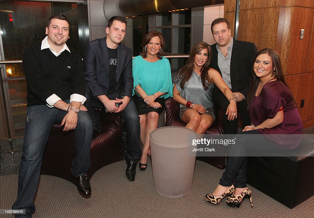 Christopher Manzo, Albie Manzo, <a gi-track='captionPersonalityLinkClicked' href=/galleries/search?phrase=Caroline+Manzo&family=editorial&specificpeople=5841102 ng-click='$event.stopPropagation()'>Caroline Manzo</a>, Jacqueline Laurita, Chris Laurita and Lauren Manzo pose for a photo during the 'Real Housewives of New Jersey' Season 4 viewing party at The Chandelier Room on April 22, 2012 in Hoboken, New Jersey.