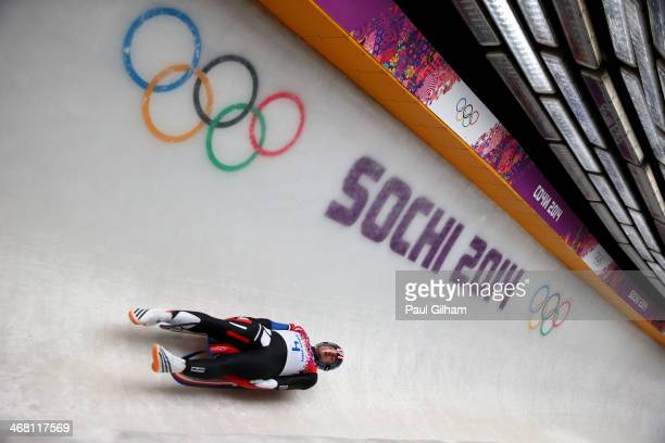 Christopher Mazdzer of the United States competes during the Men's Luge Singles on Day 2 of the Sochi 2014 Winter Olympics at Sliding Center Sanki on...