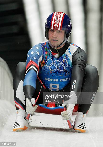 Christopher Mazdzer of the United States finishes a run during the Luge Relay on Day 6 of the Sochi 2014 Winter Olympics at Sliding Center Sanki on...