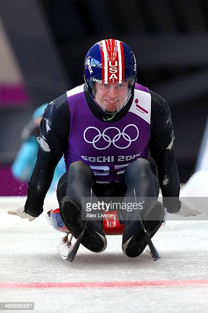Christopher Mazdzer of the United States practices during a men's luge training session ahead of the Sochi 2014 Winter Olympics at the Sanki Sliding...