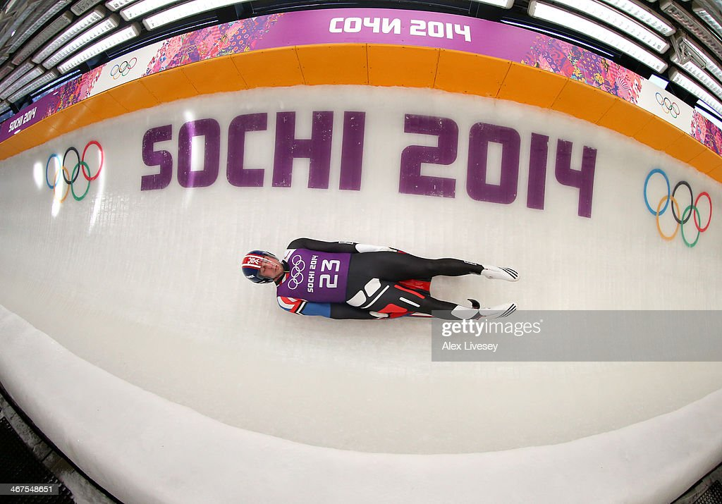 Christopher Mazdzer of USA in action during a Men's Singles Luge training session ahead of the Sochi 2014 Winter Olympics at the Sanki Sliding Center on February 6, 2014 in Sochi, Russia.at on February 7, 2014 in Sochi, .