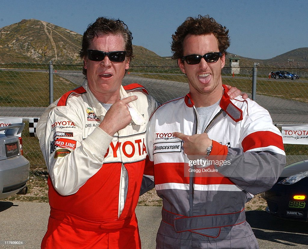 Christopher McDonald and Aaron Peirsol during 2005 Toyota Pro/Celebrity Race Driver Training at Willow Springs International Raceway in Rosamond...