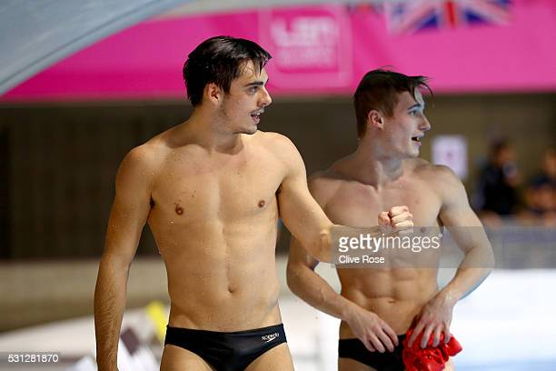 Christopher Mears and Jack Laugher of Great Britain celebrate victory in the Men's 3m Synchro Final on day five of the 33rd LEN European Swimming...