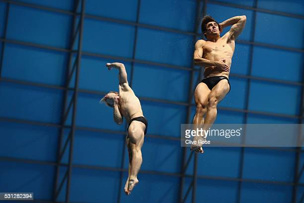 Christopher Mears and Jack Laugher of Great Britain compete in the Men's 3m Synchro Final on day five of the 33rd LEN European Swimming Championships...