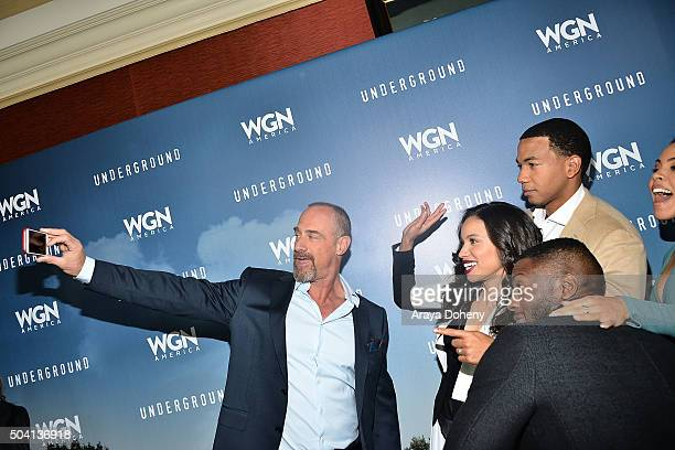Christopher Meloni Jurnee SmollettBell Aldis Hodge Alano Miller and Amirah Vann attend the WGN America's 'Underground' photo call at Winter 2016...