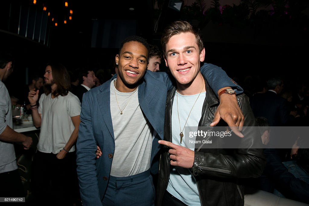 Christopher Meyer and Taylor John Smith attend the 'Wolves' after party during 2016 Tribeca Film Festival at No. 8 on April 15, 2016 in New York City.
