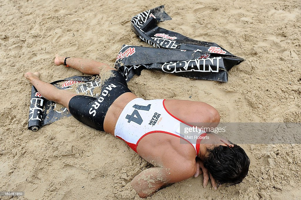 Christopher Moors looks dejected during the Noosa Heads round of the 2012-13 Kelloggs Nutri-Grain Ironman Series on February 24, 2013 in Noosa, Australia.