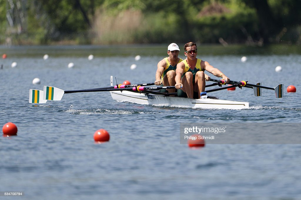 Christopher Morgan (L) and David Watts of Australia compete in the Men's Double Sculls heats during day 1 of the 2016 World Rowing Cup II at Rotsee on May 27, 2016 in Lucerne, Switzerland.