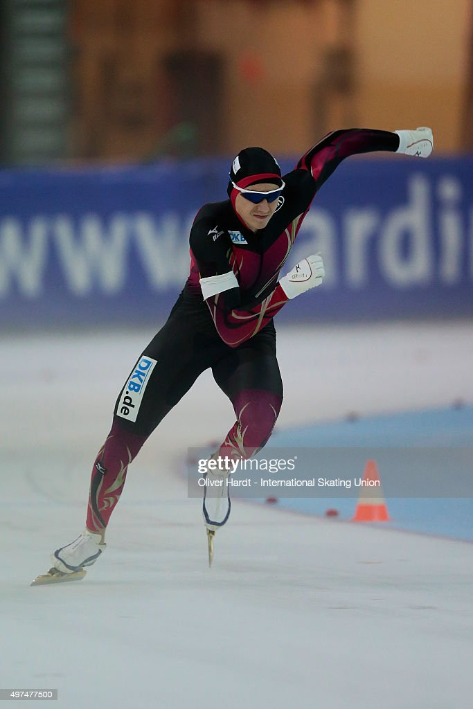 Christopher Mueller of Germany competes in the mens 500m race during day 2 the ISU Junior World Cup Speed Skating Groningen on November 15 2015 in...