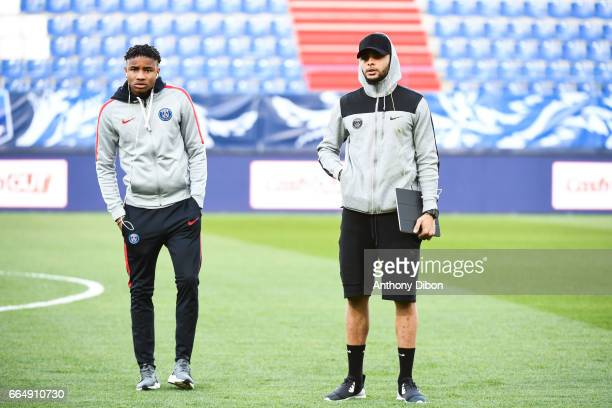 Christopher Nkunku and Layvin Kurzawa of PSG during the French National Cup Quarter Final match between Us Avranches and Paris Saint Germain at Stade...
